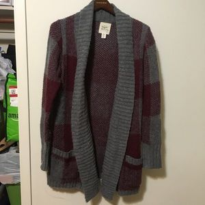 Anthro between me & you windowpane cardigan